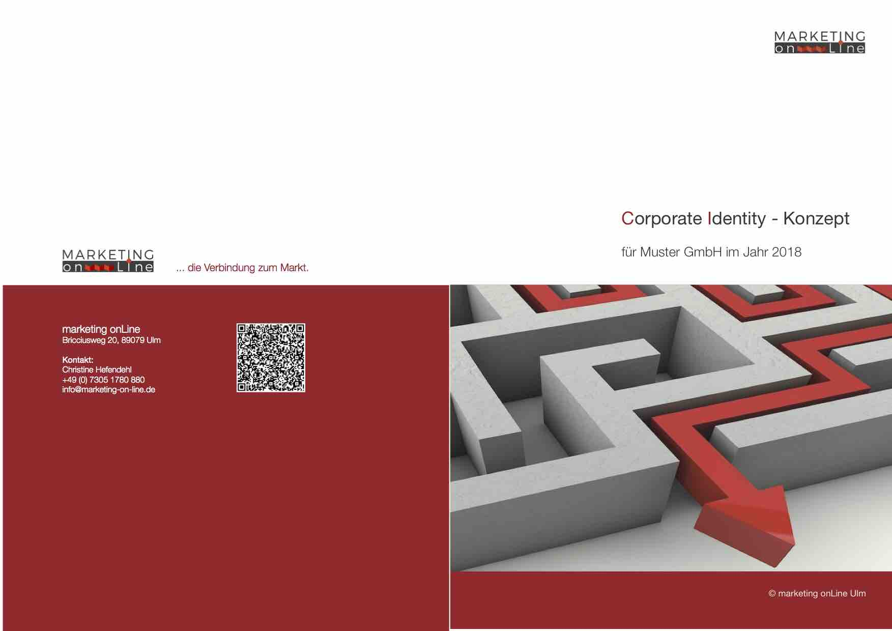 "Darstellung des Covers ""Corporate Identity Konzept"" von marketing onLine Ulm"